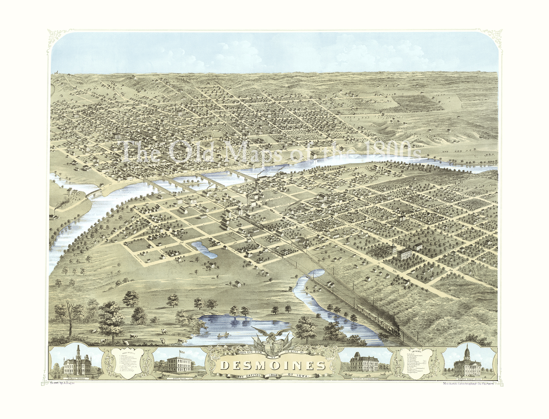 Des Moines, Iowa in 1868 - Bird\'s Eye View Map, Aerial map, Panorama,  Vintage, Antique, Reproduction, Giclée, Fine Art, Wall Art, History from  The ...