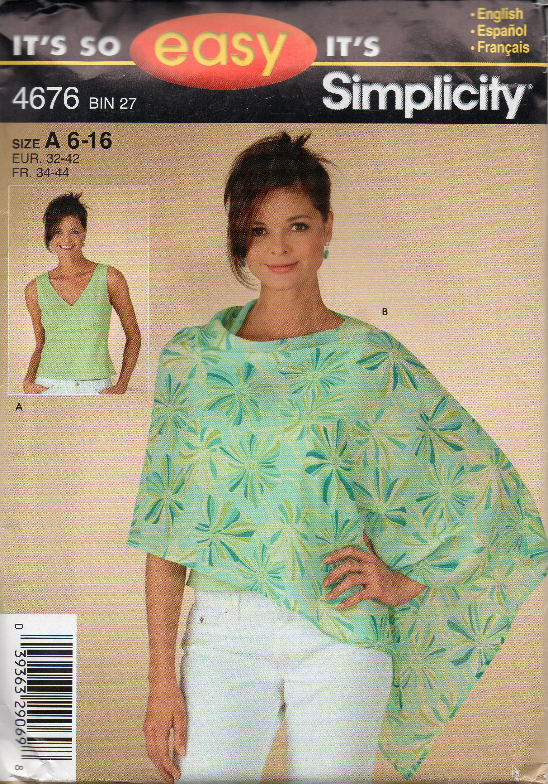c4ee3d3e3 Simplicity 4676 Misses Top and Poncho Pattern Sizes 6 - 16 · Kool ...