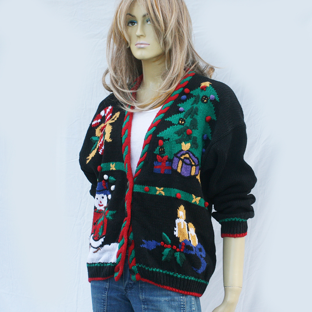 0ee210e91c49 vintage 80s UGLY CHRISTMAS sweater | cardigan unisex | L XL on Storenvy