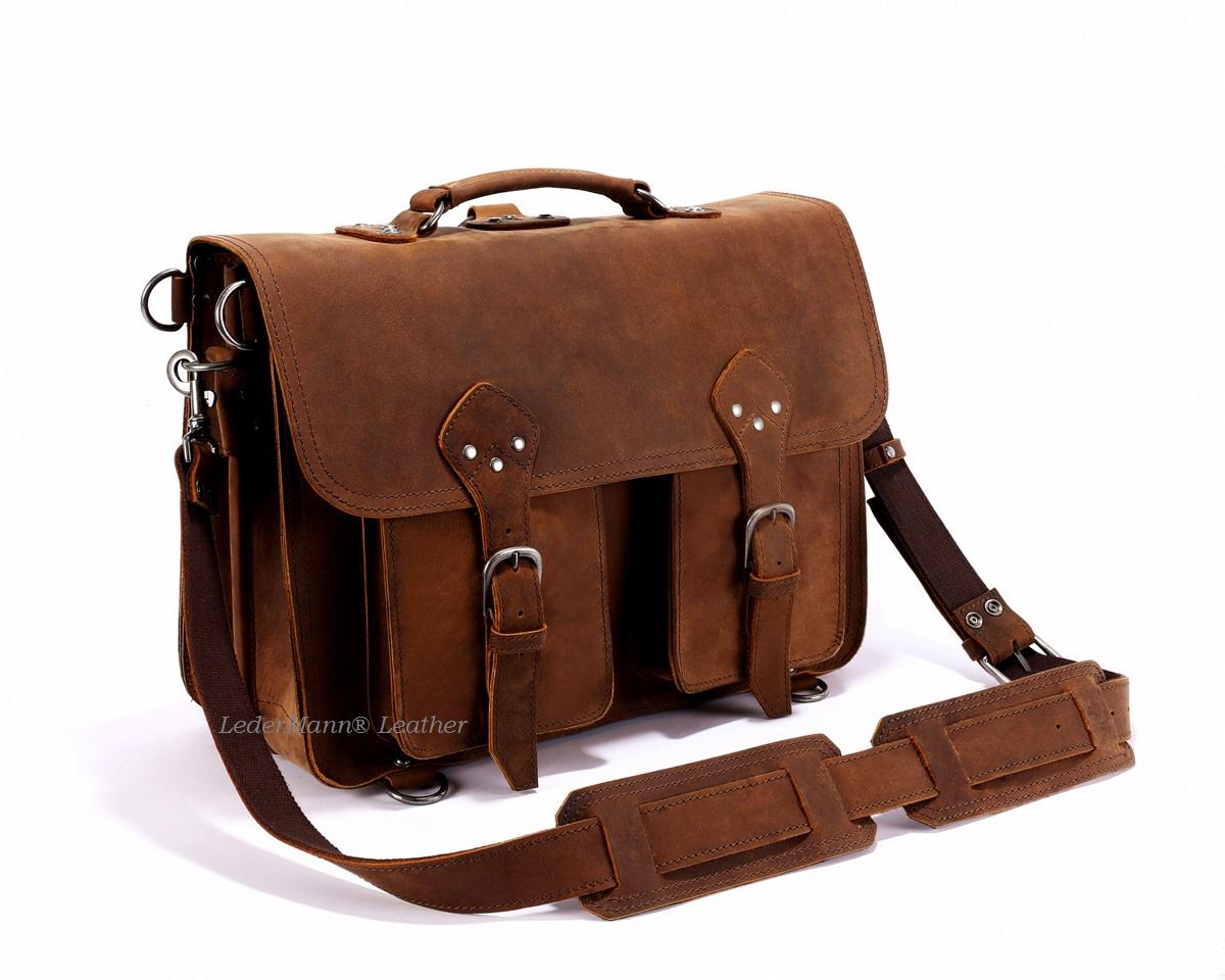 18   Laptop Messenger Bag - Dark Tobacco Brown Vintage Style Backpack 06f8b3b82e0ac