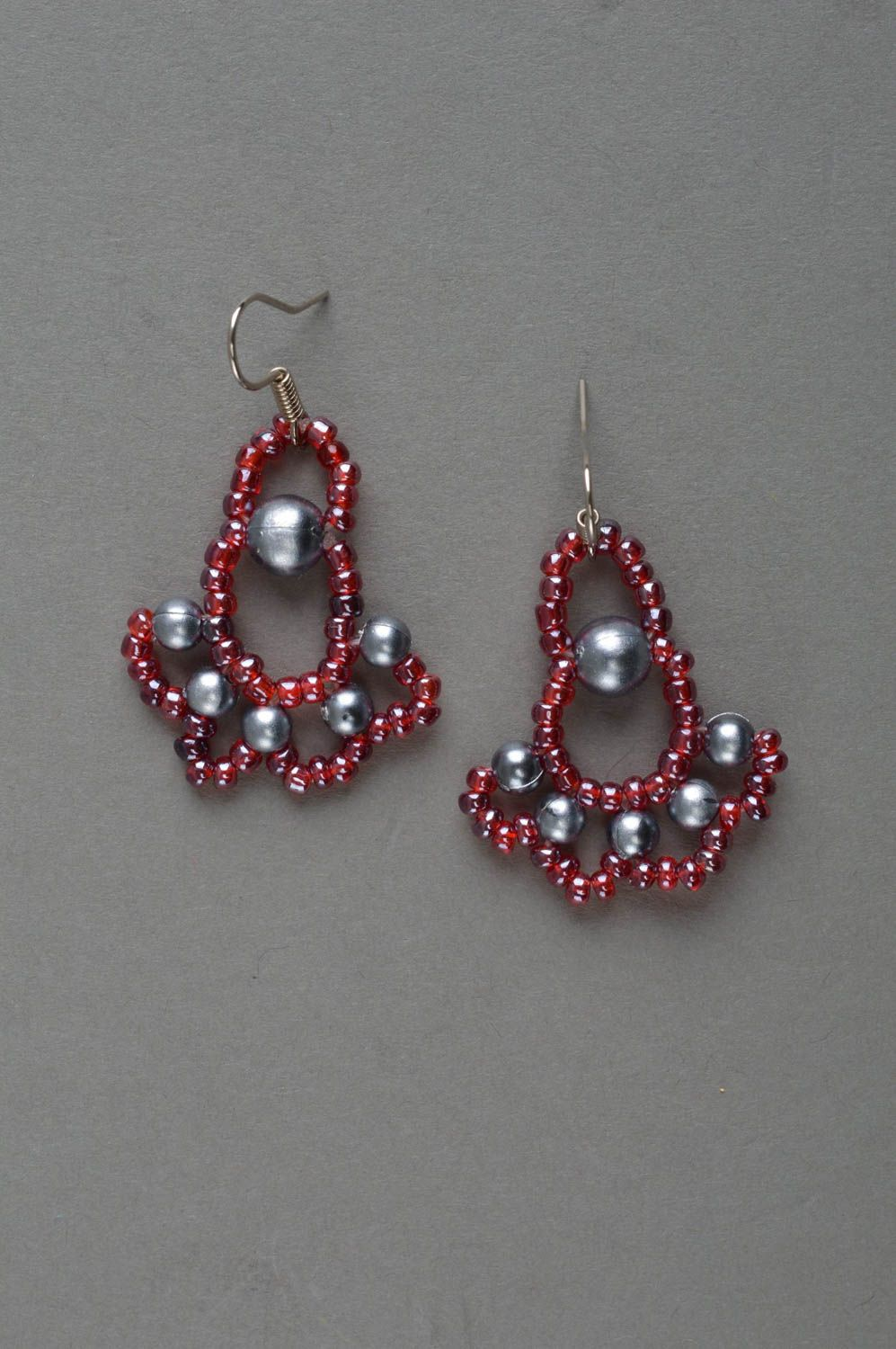 b1bb48e0c128a Large homemade beaded earrings evening jewelry