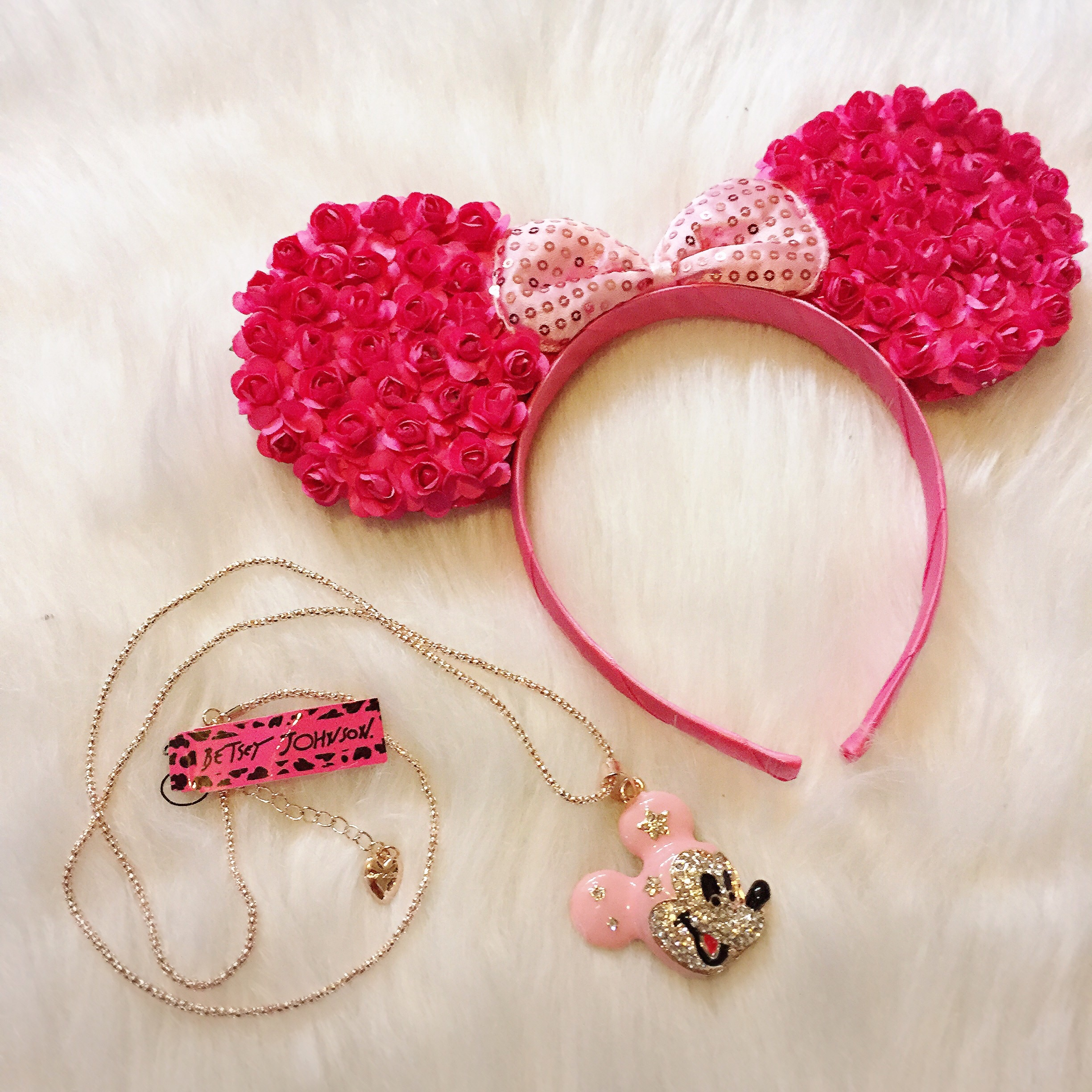 Pink Floral Mickey Minnie Mouse Ears Flower Headband Sparkle
