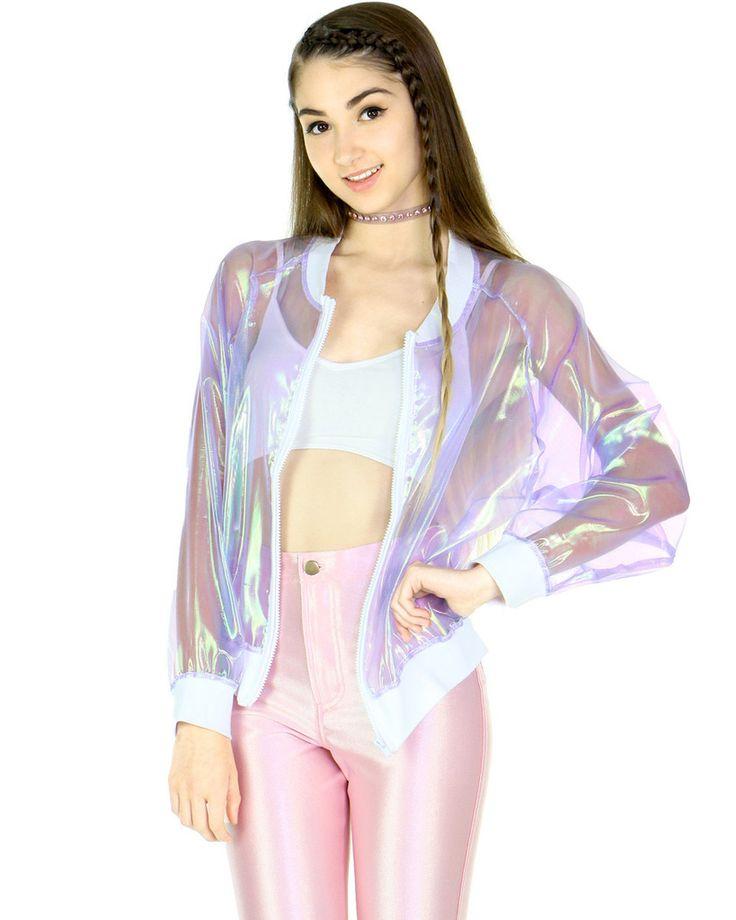 cf6c3fb82 Transparent hologram bomber jacket