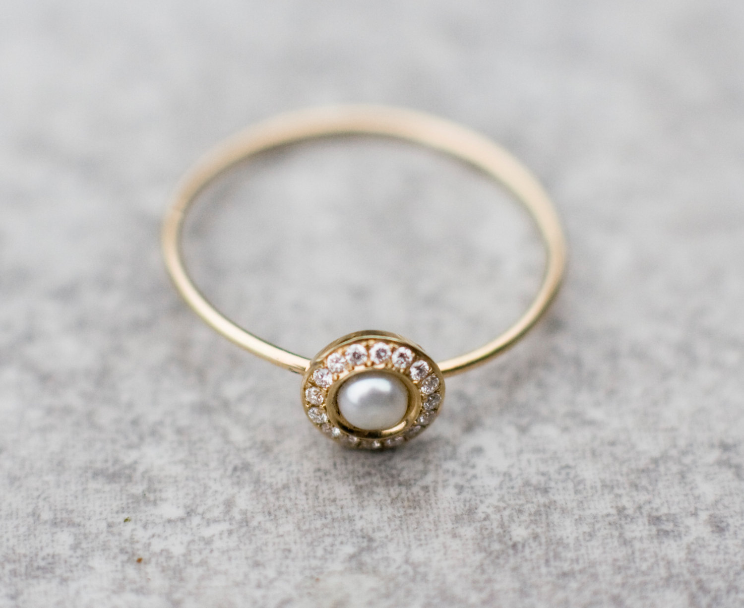 Top White pearl wedding ring with diamonds in 14k gold, pearl  UF87