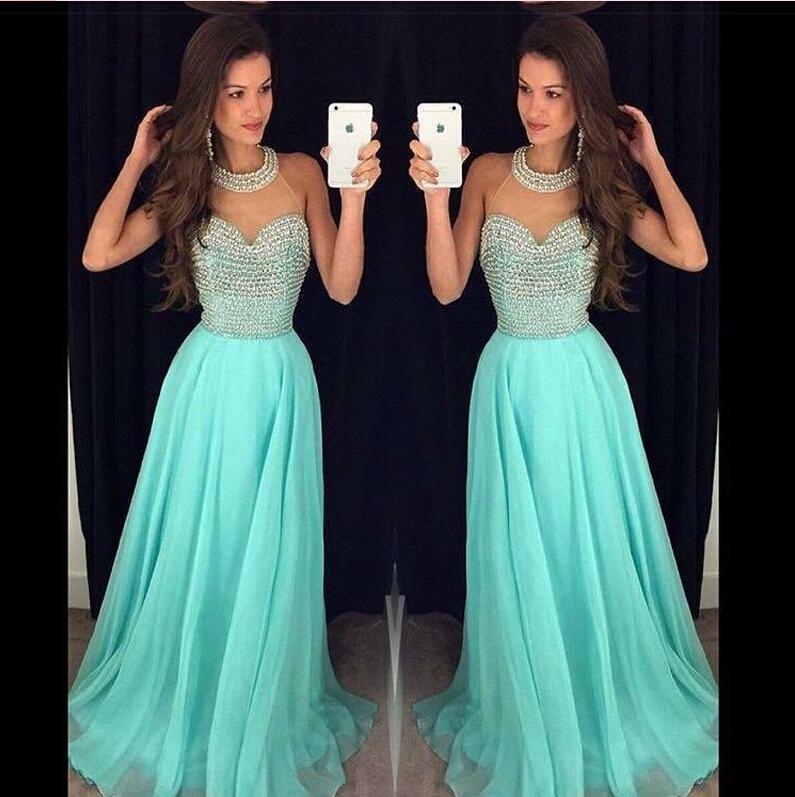 Hot Sales High Neck Heavy Beads Blue Chiffon Long Prom Dressa Line