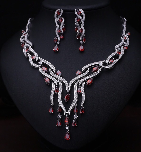 Luxury classic white gold plated water drop aaa cz diamond vintage jewelry  sets bridal jewelry sets