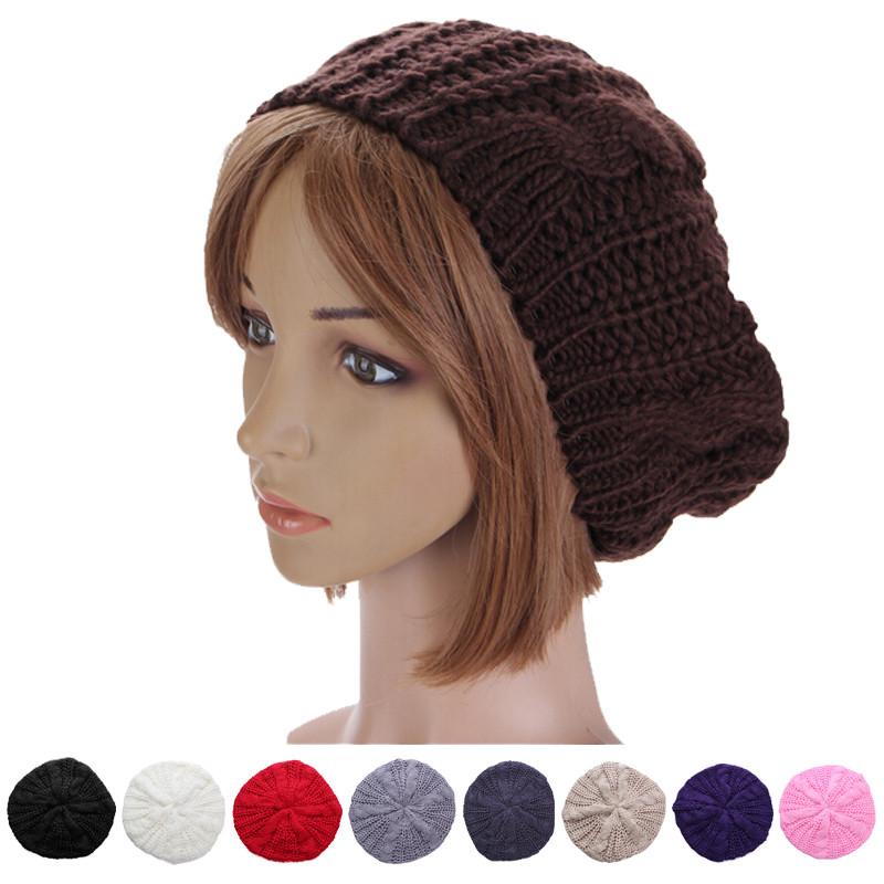 1e7326f10ad25 Women Lady Winter Warm Knitted Crochet Hat Slouch Baggy Beret Beanie ...
