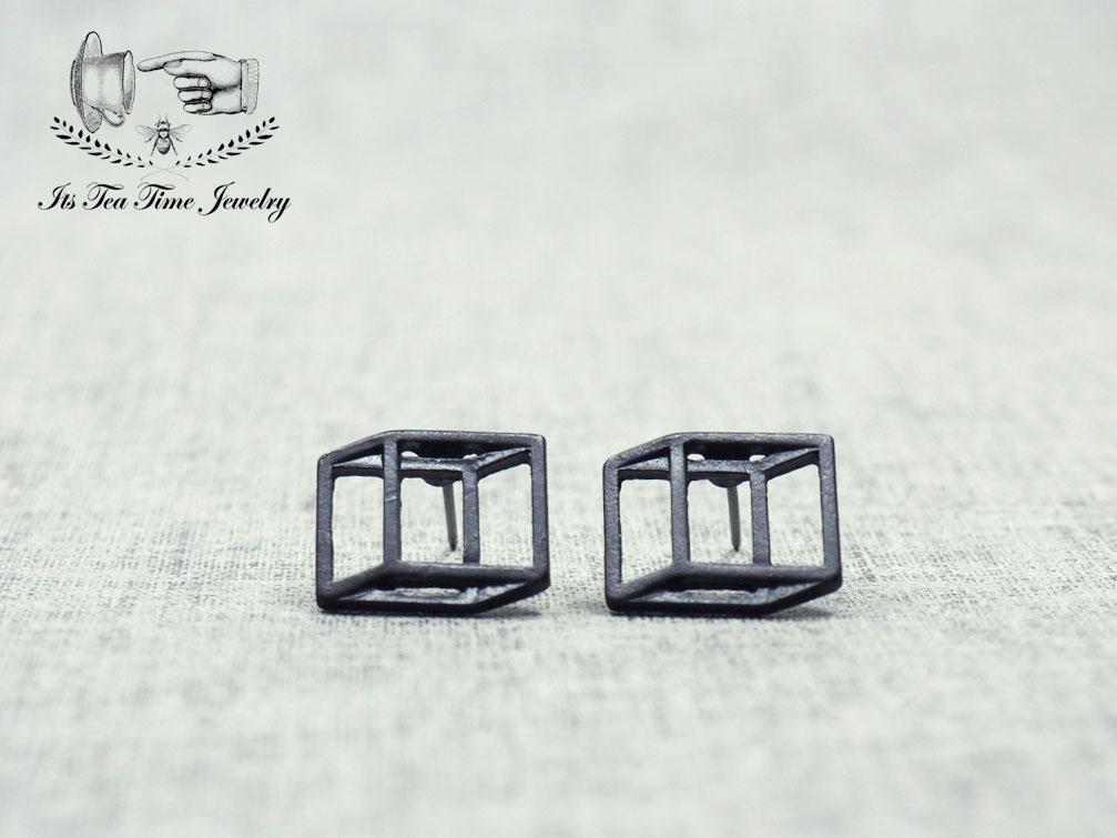3dd1b6a43 Simple and chic Black 3D Square cube stud earrings, geometric 3d earring,  dangle earrings ...