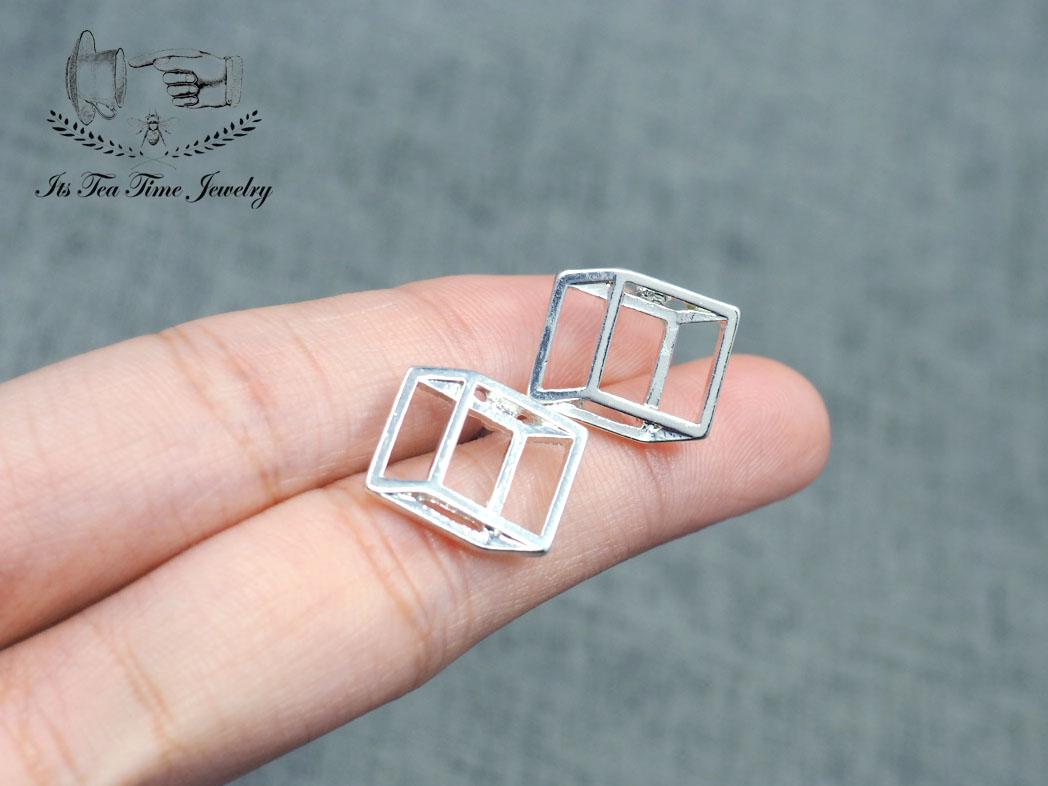 82115aeaa ... Simple and chic Silver 3D Square cube stud earrings, geometric 3d  earring, dangle earrings ...