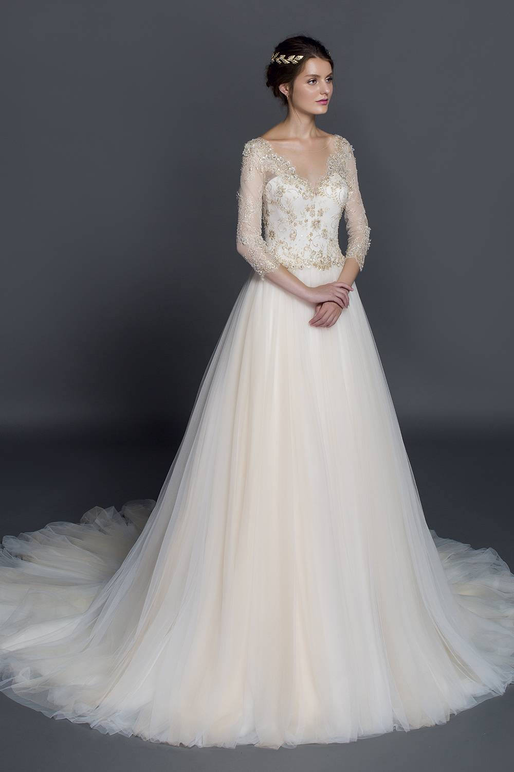 Stunning Champagne Lace Appliqued Ball Gown Winter Wedding Dress From Curvy Brides