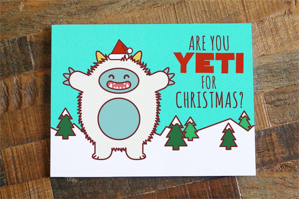 Cute Christmas Puns.Funny Christmas Card Are You Yeti For Christmas Pun Card Cute Yeti Funny Holiday Card Xmas Cards Greeting Card Happy Holidays Sold By Tiny