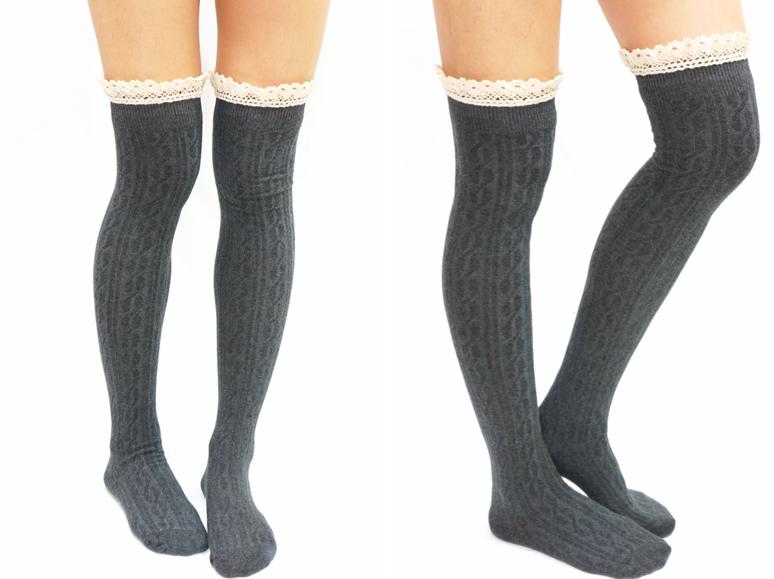 5d34b24aac4 Comfy Lace Trim Knit Thigh High Boot Socks- Dark Grey - Thumbnail 1 ...