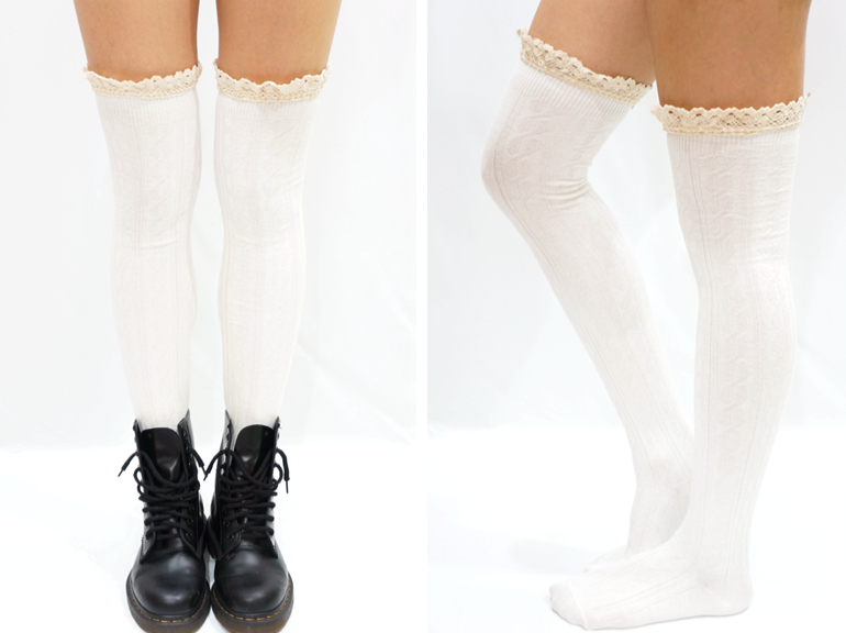 b32fed41d ... Comfy Lace Trim Knit Thigh High Boot Socks- Black - Thumbnail 3
