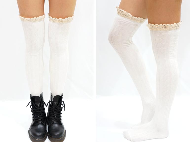 954f724af912b Comfy Lace Trim Knit Thigh High Boot Socks- White · Sandysshop ...