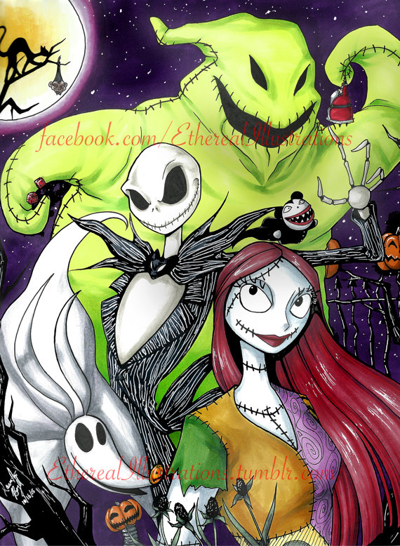 Nightmare Before Christmas Illustration.Poster Nightmare Before Christmas Sold By Ethereal Illustrations