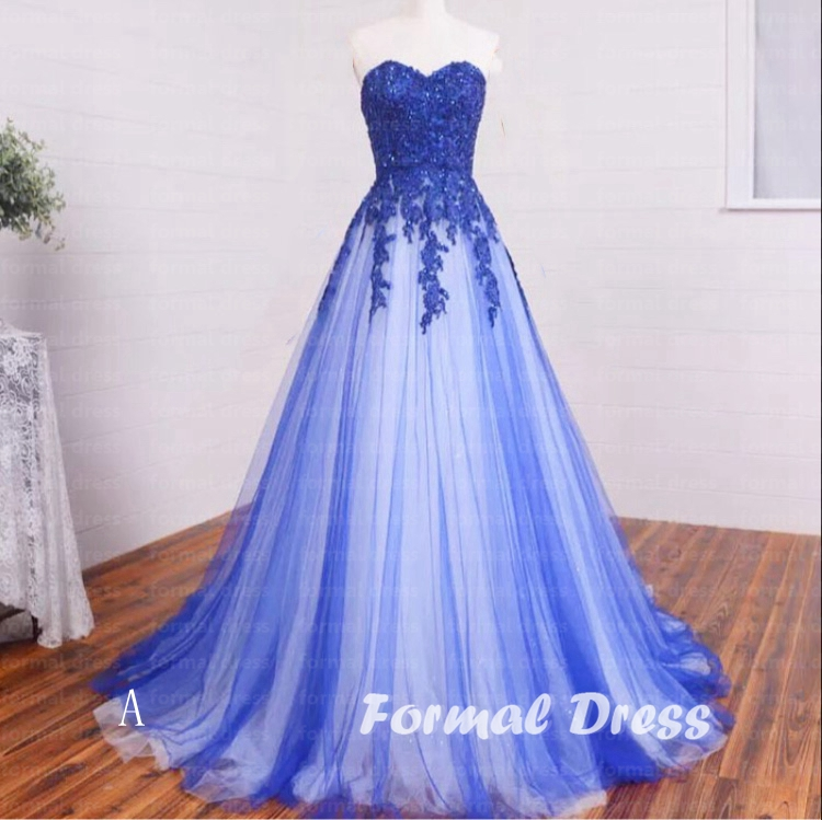 Pretty A-line Sweetheart Blue And White tulle Lace Long Prom Dress ...