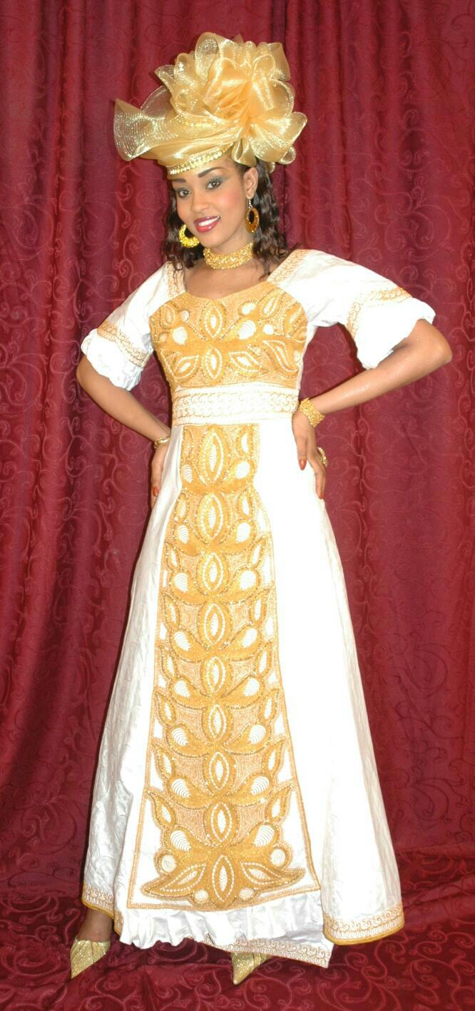 White African Women S Maxi Dress Clothing With Gold Embroidery New
