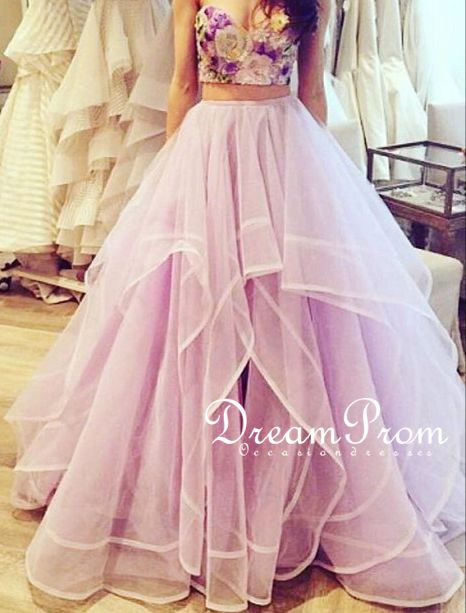 Pretty Lavender Two Pieces Sweetheart Tulle Long Prom Dressformal