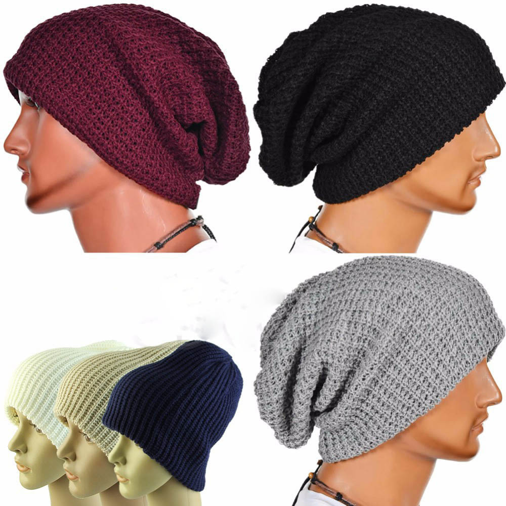0dcd10bb31d Unisex Men Women Knitted Slouch Beanie Hat Twill Pure Color Elastic Outdoor  Cap