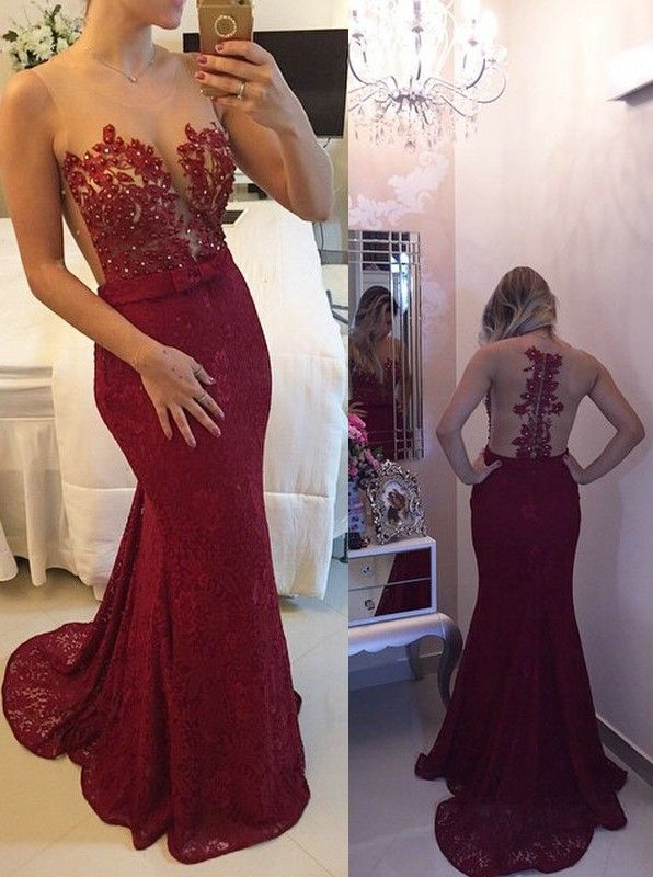 New arrival 2016 burgundy lace prom dress,mermaid long prom dress ...