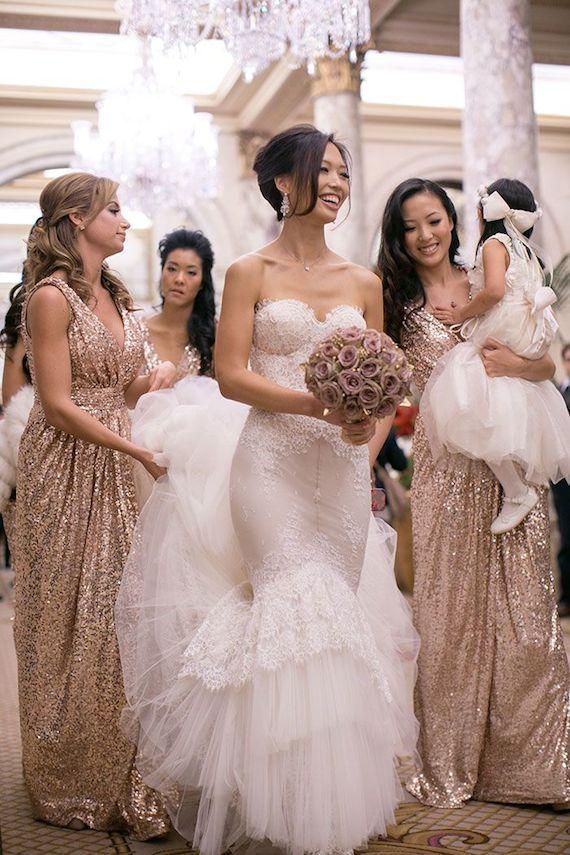 Gold sequin bridesmaid dresses, off shoulder bridesmaid dresses ...