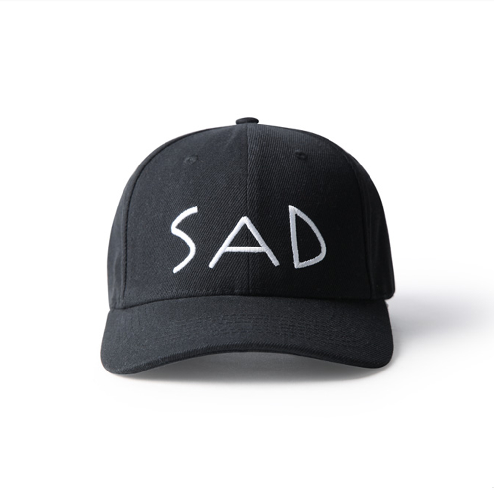 86ce91dc869 HIGH QUALITY LETTER SAD BASEBALL CAP IN BLACK · soldrelax · Online ...