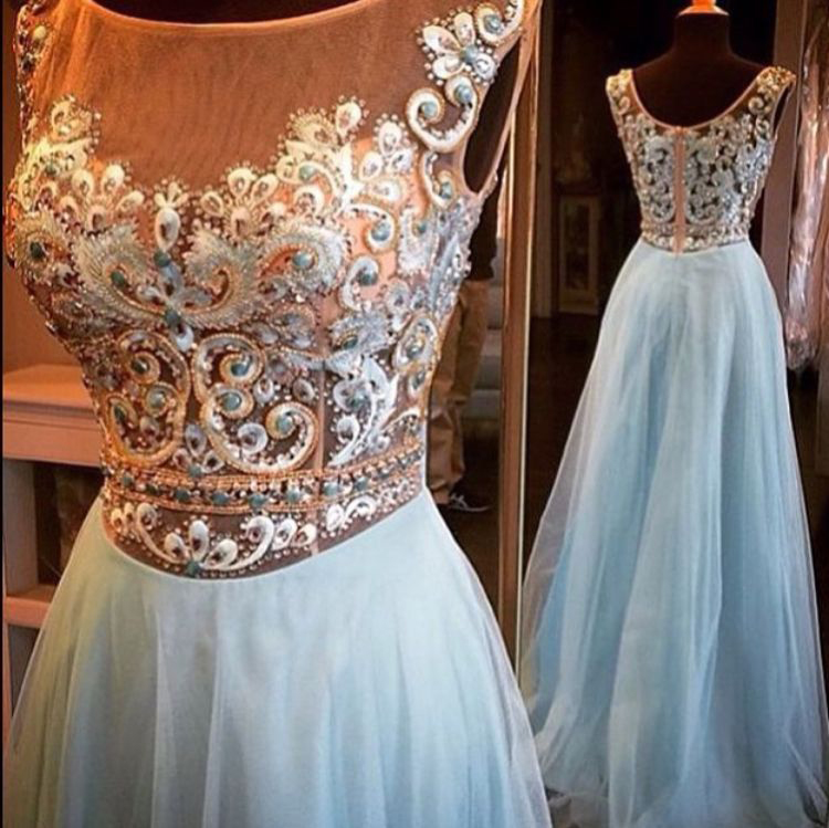 f35fb84607 A-line See-through Embroidery Beaded Bodice Prom Dress Light Blue ...
