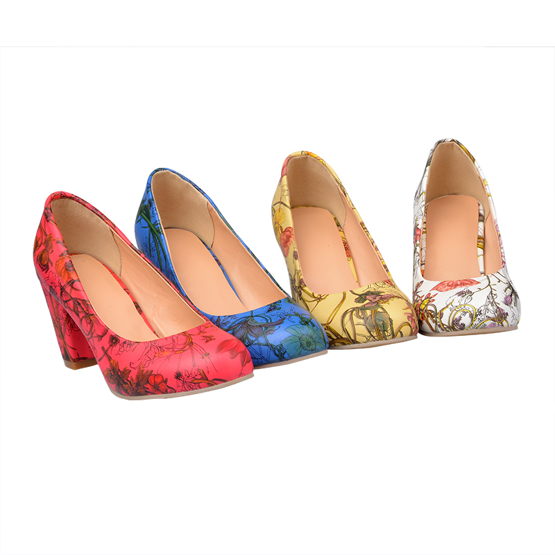 1cb026b873b Yellow 20red 20blue 20white 20lily 20floral 20tattoo 20print 20pumps  20chunky 20heels 20almond 20toe 20rockabilly 20pin up