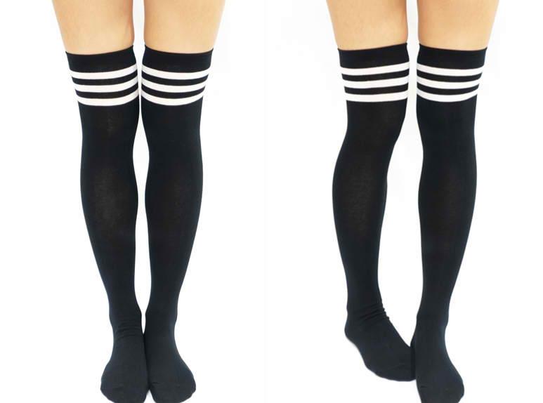 d9df5f6a7 ... Black White Striped Thigh High Socks - Thumbnail ...