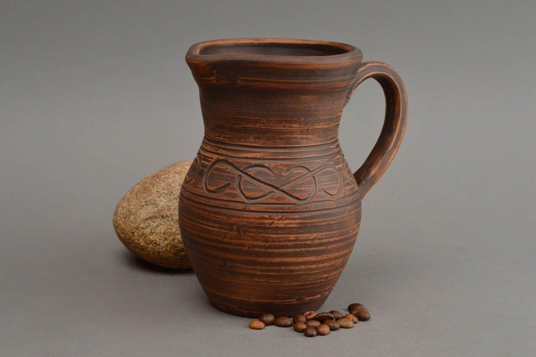 Unusual handcrafted ceramic jug beautiful clay water jug 500 ml home  ceramics