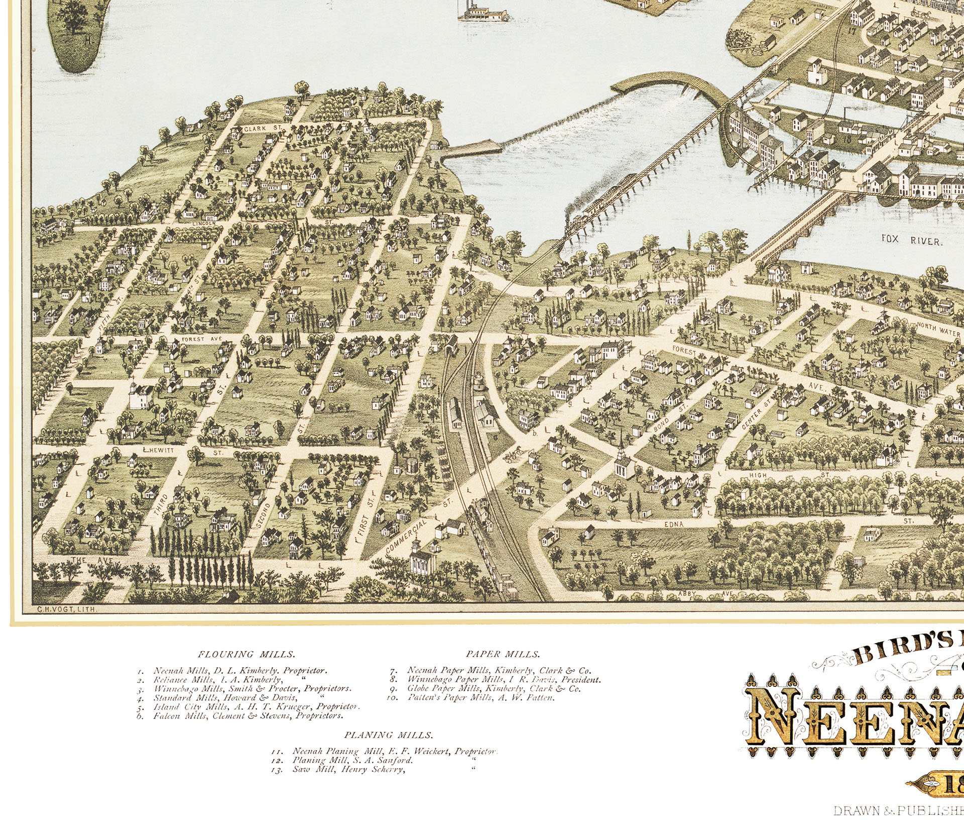 Neenah Wisconsin In 1879 Bird S Eye View Map Aerial Panorama