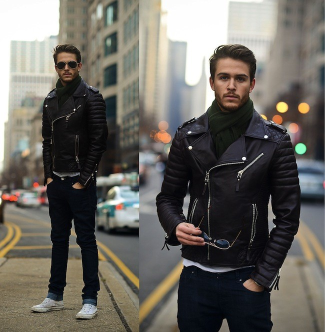 Mens Biker Leather Jacket Mens Fashion Black Motorcycle Jacket