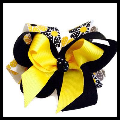 5f314bdb1ef0f Girls boutique black yellow polka dot flowers hair bow clip