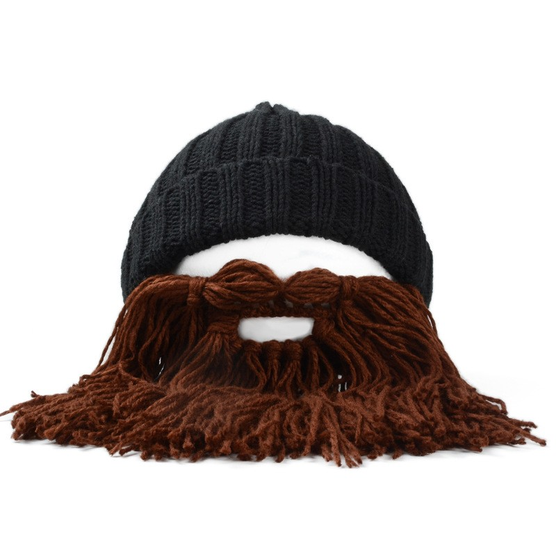 9846aed8526 Unisex Men Women Beard Barbarian Looter Knit Crochet Beanie Cap ...
