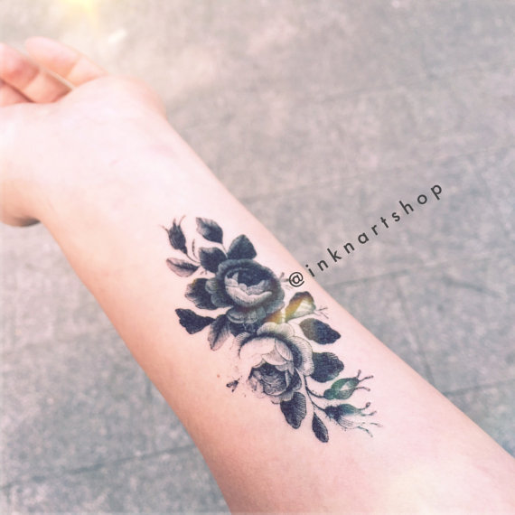 2pcs wild peony drawing flower floral illustration tiny for Floral temporary tattoos