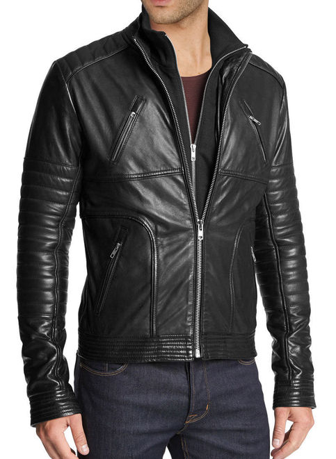 Handmade Mens Fashion Biker Leather Jacket Men Hollywood