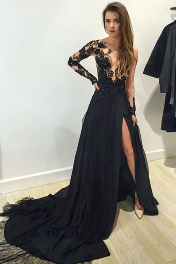 Long sleeve Prom Dress, lace Prom Dress,