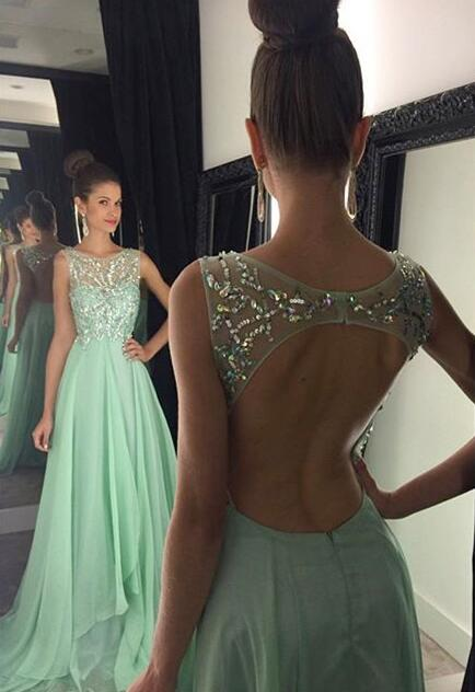 backless prom dresses, Green prom dresses,