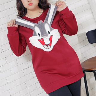 67db148f551 XL-3XL Wine Navy Plus Size Cute Bunny Bottoming Shirt SP154643 ...