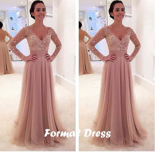 Formal Dress Custom Made Lace Tulle Long Prom Dresses