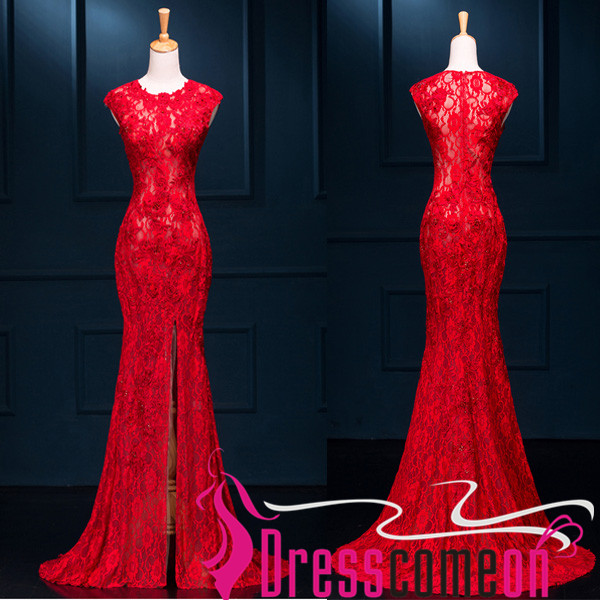 a9c441f830 Red Lace Mermaid Prom Dresses,See Through Long Prom Dresses,Front Split  Evening Prom