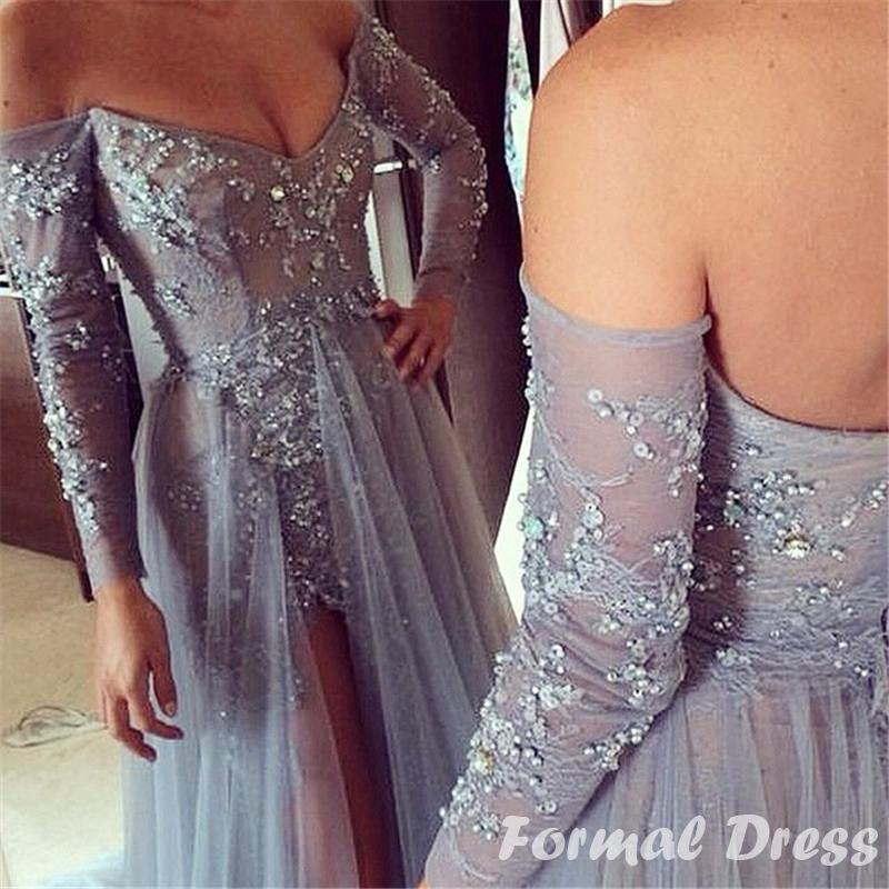 8be6900a04156 ... Custom Made Sexy V-neck Gray Tulle Open Back Long Sleeve Prom Dress