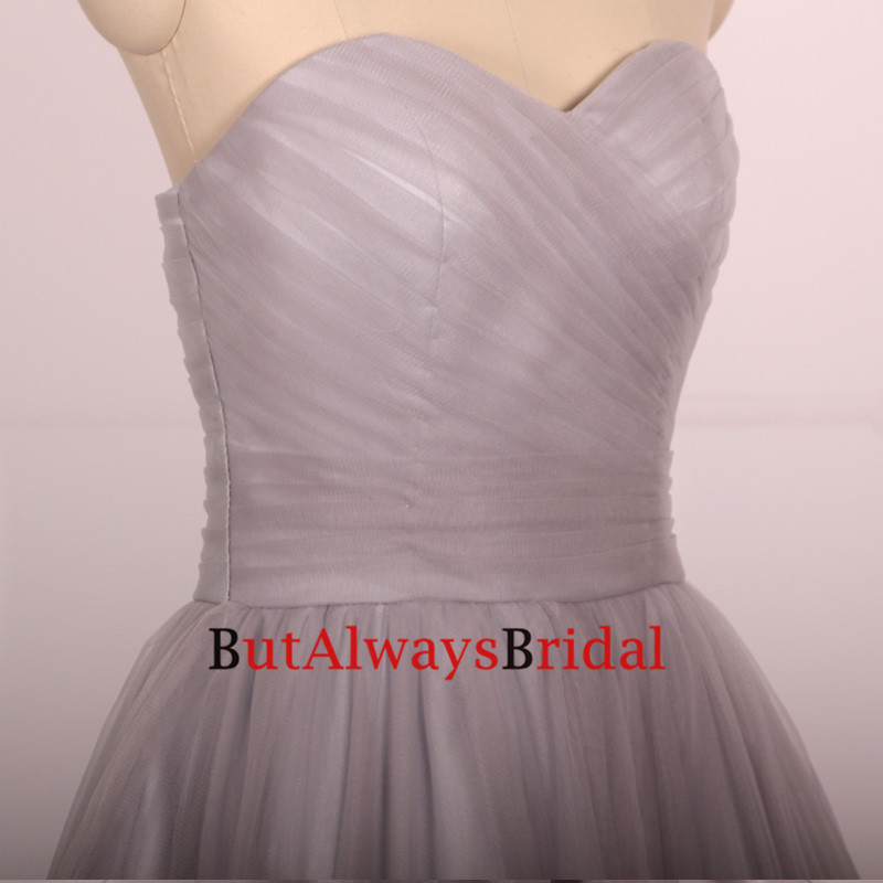 ca6d9c2185d Custom 2016 Cheap Ball Gown Sweetheart Tulle Long Gray Silver Prom ...