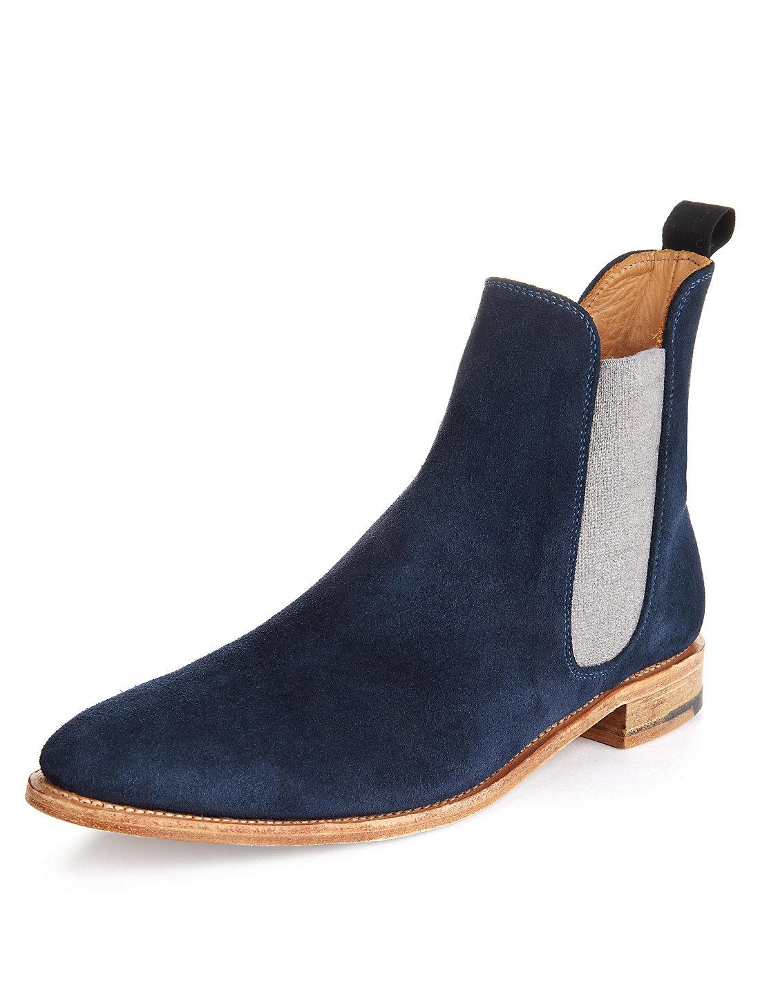 98c6b031e1 Handmade mens chelsea boots, Men Fashion blue ankle-high suede ...