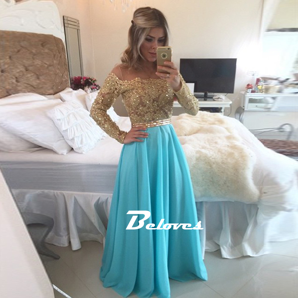 ead99bb19f03 Lace   Chiffon Off The Shoulder Prom Dress With Gold Beading ...
