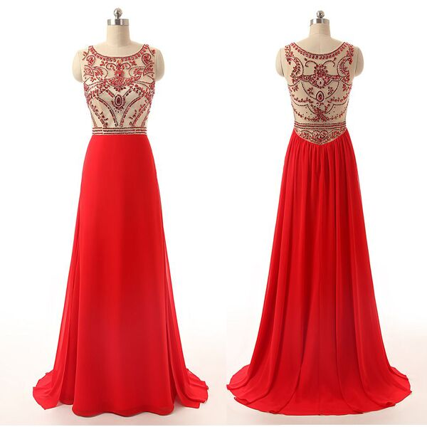 Red Long Chiffon Prom Dresses,Cheap Prom Dress,Beaded Evening ...