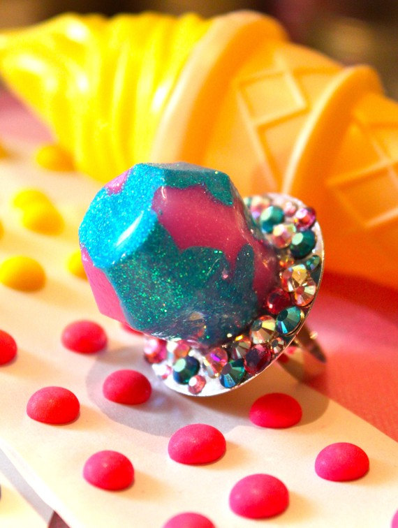 Ring Pop Candy Resin Jewelry Cotton Candy Pastel Pink Candy Resin Glitter Ring Kitsch