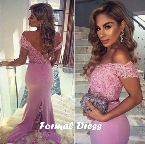 Pink lace long prom dress,mermaid long prom gown,pink dress,evening ...