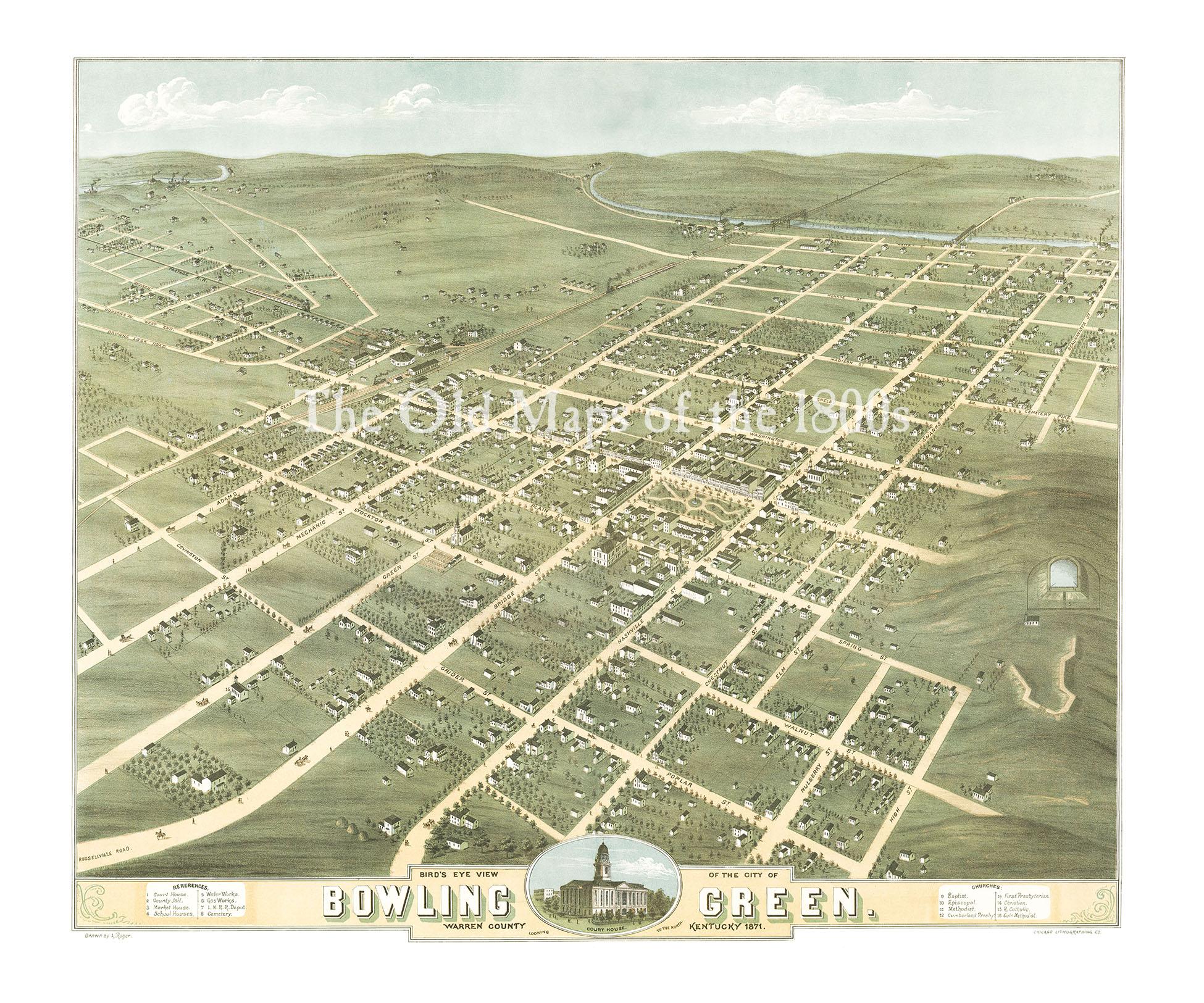 bowling green kentucky in 1871 bird s eye view map aerial map