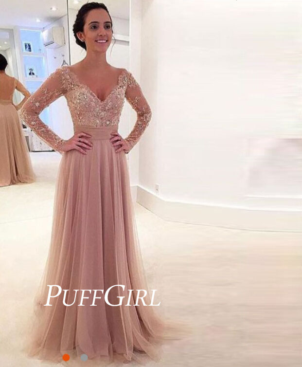 25e69a4c8 Nude V Neck Tulle Long Sleeves Open Back Prom Dress With Beaded Lace Appliques  on Storenvy